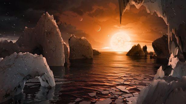 Taiteilijan näkemys Nasan löytämän eksoplaneetta Trappist-1f:n maisemista.