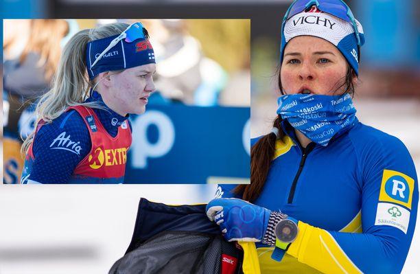 Vilma Nissinen (vas.) pääsi vinoilemaan Krista Pärmäkoskelle SM-pariviestin jälkeen.
