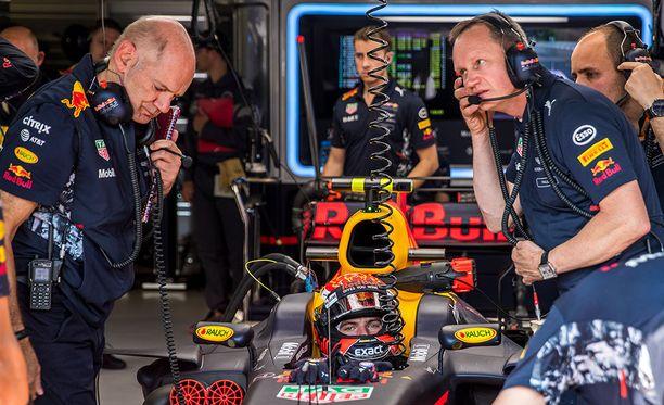 Adrian Newey (vasemmalla) on työskennellyt Red Bullin F1-projektin parissa viimeiset 12 vuotta.