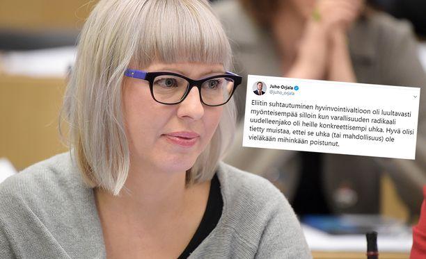 Aino-Kaisa Pekosen erityisavustajan Juho Orjalan tviiteistä nousi kohu.