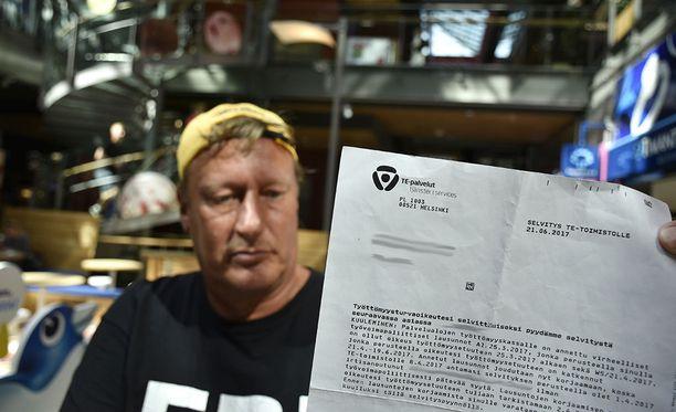 Espoolainen Risto Varsala sai TE-toimistolta kirjeen, jossa häntä pyydettiin tekemään selvitys.