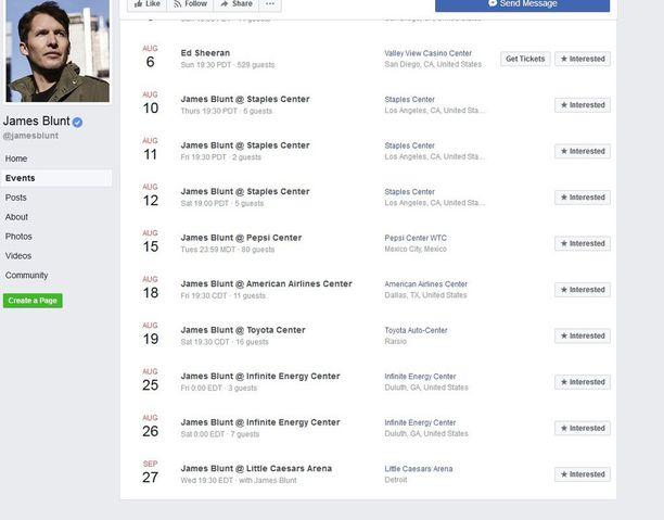 Bluntin Facebook-sivuilla näkyy edelleen keikka, joka on merkitty Raision Toyota-Centeriin.