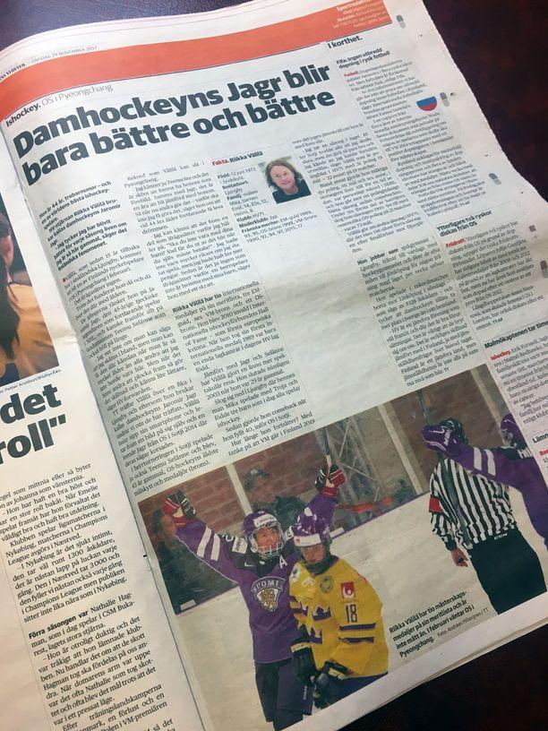 Dagens Nyheterin keskiviikon paperilehdessä julkaistiin iso henkilöjuttu Riikka Välilästä.