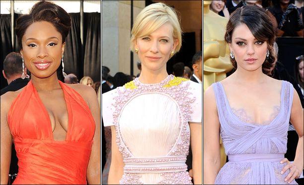 Jennifer Hudson (vas.) ja Mila Kunis (oik.) vastasivat gaalan uskaliaimmista iltapuvuista ja Cate Blanchett (keskellä) erikoisimmasta kirjailusta.