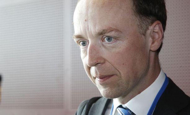 Jussi Halla-aho kommentoi ajankohtaisia asioita perussuomalaisten puoluetoimistossa torstaiaamupäivällä.