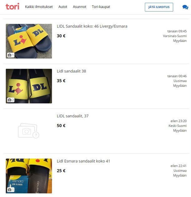 Tällaisilla hinnoilla Lidl-sandaaleita kaupataan Torissa.