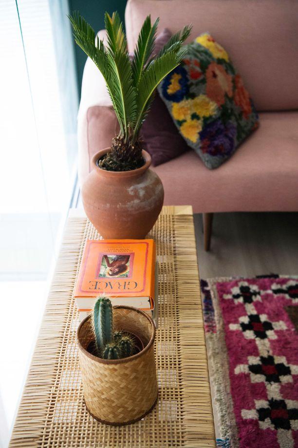 Irene pitää sisustuksessa viherkasveista - ja onneksi kaktukset ovat helppohoitoisia.