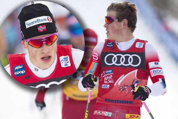 Johannes Kläbo aloitti perjantain kilpailun Tour de Skillä pipo päässä. Maalilinjan hän ylitti ilman päähinettä.