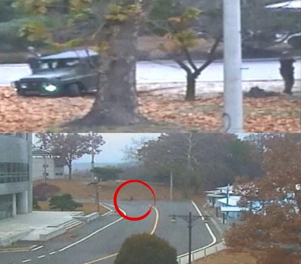 Hetkeä myöhemmin ampuvia sotilaita on jo kolme, kun loikkari säntää Etelä-Korean puolelle.