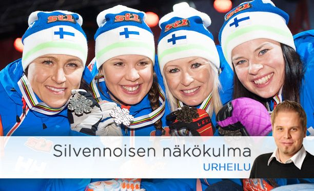 Kaksi vuotta sitten Falunissa Suomen ainoa MM-mitali tuli naisten viestistä joukkueella Aino-Kaisa Saarinen (vas.), Kerttu Niskanen, Riitta-Liisa Roponen ja Krista Pärmäkoski.