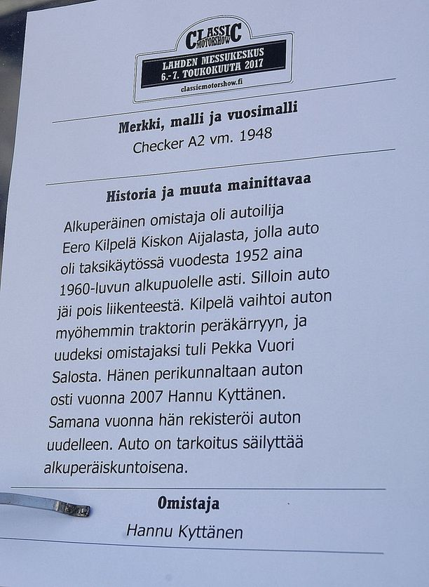 Tällainen on Hannu Kyttäsen omistaman alkuperäiskuntoisen Checker A2-mallin tarina.