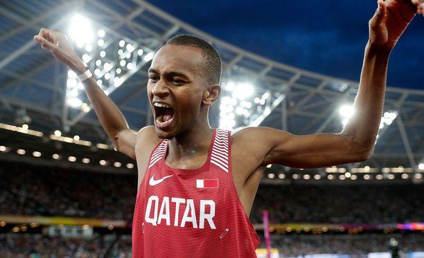 Qatarin Mutaz Barshim juhli Lontoossa MM-kultaa.