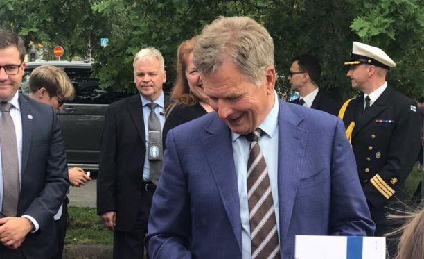 Sauli Niinistö Uudessakaupungissa elokuussa.