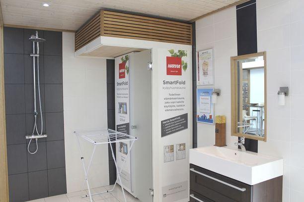 Harvia on suunnitellut pieniin asuntoihin kaapista avattavan saunan.