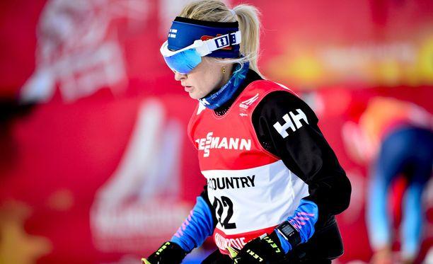 Riitta-Liisa Roponen vei naisten kilpailun. Arkistokuva.