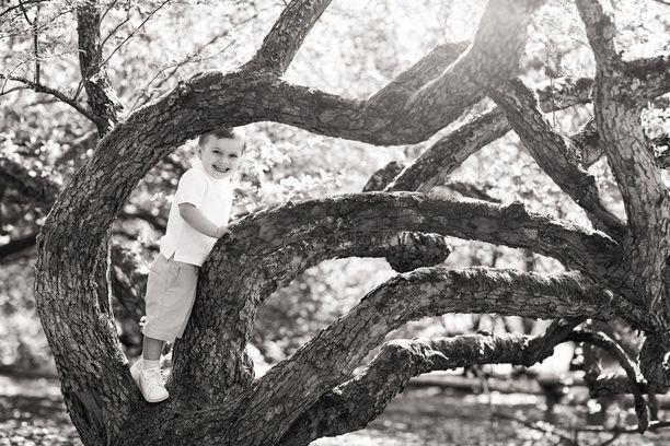 Prinssi Oscar syntyi maaliskuussa 2016. Hymyilevä Oscar kuvattiin myös puuhun kiivenneenä.