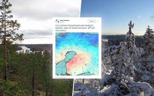Jopa 10 astetta lämmintä luvassa keskiyöllä – Pentin kuvapari Nuuksiosta kertoo oleellisen tämän talven outoudesta