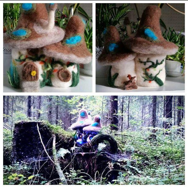 Jelena teki yövalot lapsilleen. Sienimökissä tuikkivat led-valot.