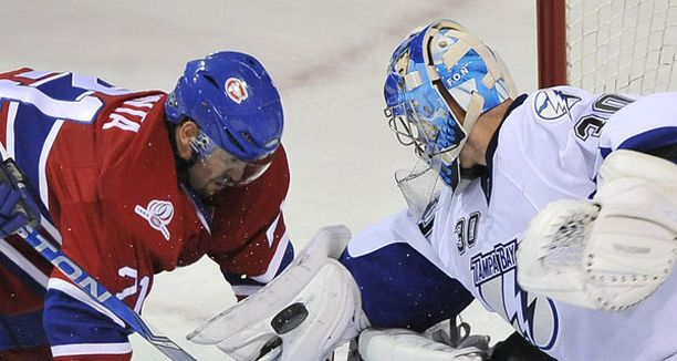 Antero Niittymäki on pelannut erinomaisesti NHL:ssä Tässä pysähtyy Montrealin Brian Gionta.