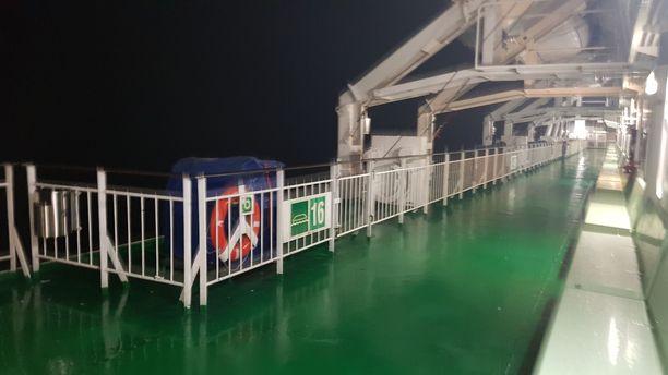 Kannelle ei ollut kelin puolesta asiaa. Useammilla laivoilla kielto kannelle menosta oli voimassa myrskyn aikana.