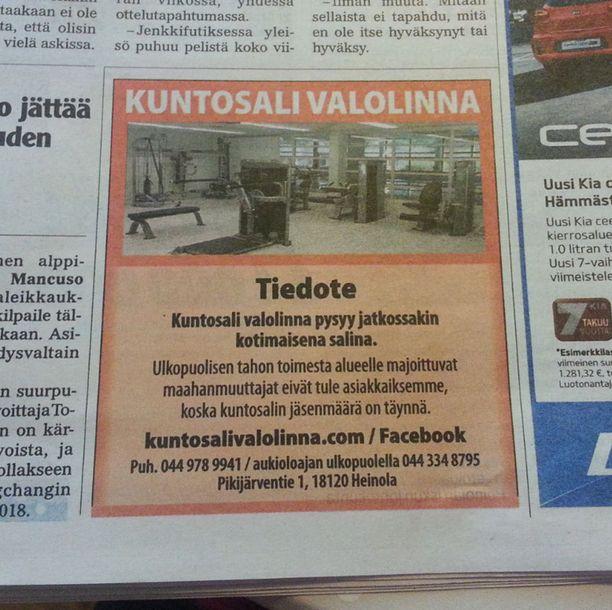 Kuntosali tiedotti suomalaisuuslinjauksestaan myös painetussa mediassa, paikallislehti Itä-Hämeessä.