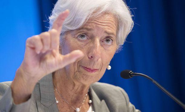 Kansainvälinen valuuttarahasto kaipaa enemmän joustoa suomalaisyritysten palkkaneuvotteluihin. Kuvassa IMF:n pääjohtaja Christine Lagarde.