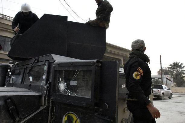 Terrorismin vastaisen erikoisjoukon tukikohta Mosulin sisällä.