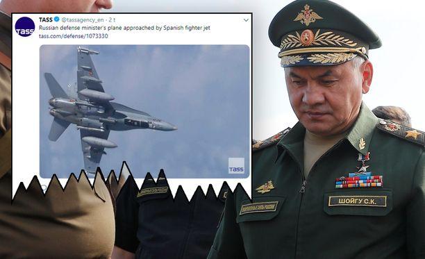 Venäjän puolustusministeri Sergei Shoigun lentokoneen tunnistamassa käynyt Naton häivttäjä kuului Espanjalle.