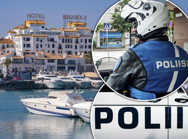 Suomen poliisi on vahvasti läsnä Espanjan Aurinkorannikolla. Kuvituskuva.