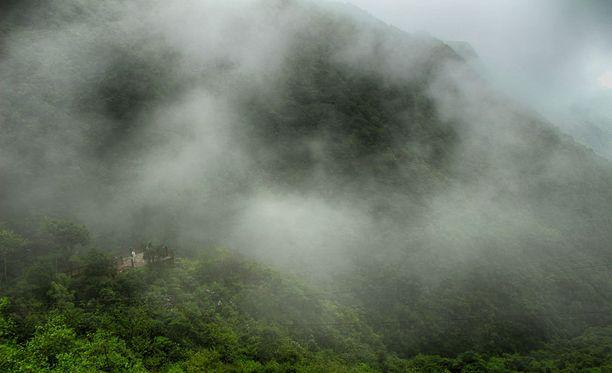 Matkailijat ihmettelemässä kosteutta maailman sateisimpana paikkana itseään mainostavassa Cherrapunjissa.