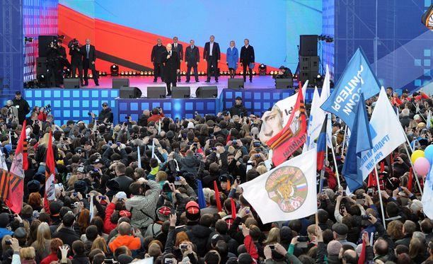 Presidentti Vladimir Putin puhui vuosipäivän kunniaksi järjestetyssä konsertissa Moskovassa.