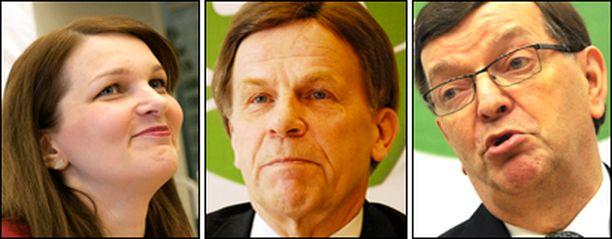 Keskustan kuumimmat puheenjohtajaehdokkaat: Mari Kiviniemi, Mauri Pekkarinen ja Paavo Väyrynen.