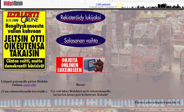 Tältä näytti Iltalehti Onlinen eli Iltalehden verkkosivujen etusivu marraskuussa 1996, reilu vuosi sivujen perustamisen jälkeen.