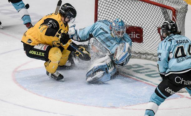 21-vuotias Pelicans-vahti Joona Voutilainen vesitti SaiPan yritykset.