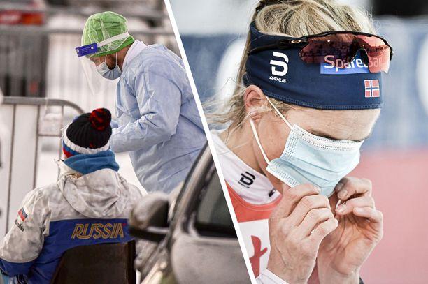 Koronavirus näkyi hiihdon maailmancupissa Rukalla. Stadionille oli tuotu testauspiste, ja urheilijat käyttivät maskeja.