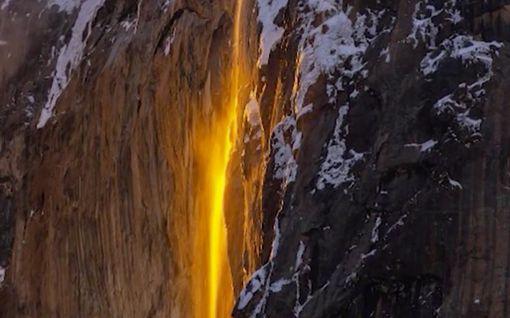Upea luonnonilmiö esiintyy vain kerran vuodessa – vesi kuin sulaa laavaa Yosemiten kansallispuistossa