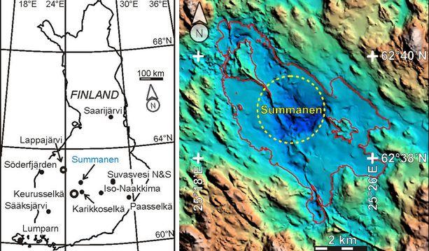 Summaselta löydettiin Suomen 12. meteoriittikraatteri. Kuvassa Suomen meteoriittikraatterit kartalla. Pallojen koko on verrannollinen kraatterin halkaisijaan. Oikealla näkyy nyt löydetty kraatteri keltaisella piirrettynä.