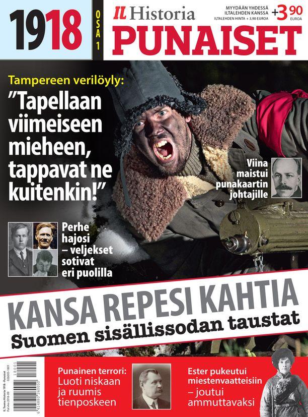 1918 - PUNAISET -lehti on ensimmäinen osa Suomen sisällissotaa käsittelevästä erikoislehtien sarjasta.  Myynnissä nyt kaupoissa Iltalehden kanssa.