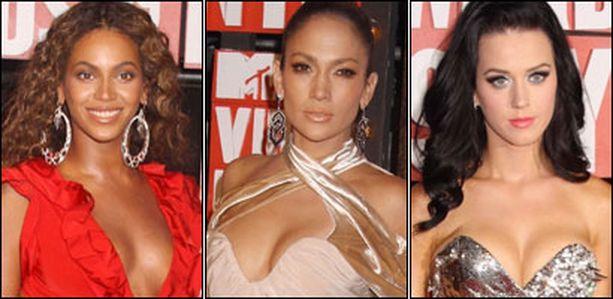 Beyoncen, Jennifer Lopezin ja Katy Perryn asuissa oli glamouria.