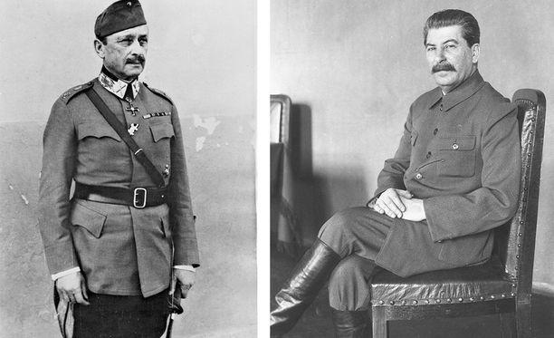 Jatkosodan jälkeen Stalin (oik.) intoutui kehumaan suomalaisia. Kuvassa vasemmalla Mannerheim.