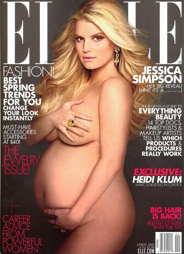 Jessica Simpsonin poseeraus huhtikuun 2012 Ellen kannessa imitoi klassikkokuvaa Demi Mooresta.