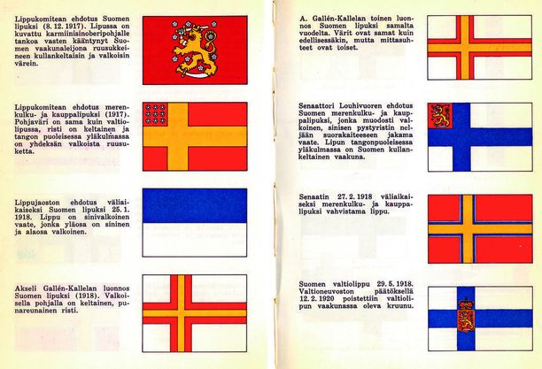 Luonnoksia ja ehdotuksia Suomen lipuksi. Klikkaa suuremmaksi.