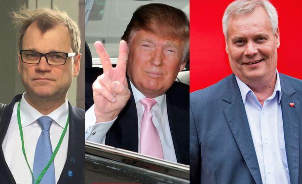 """Juha Sipilä (vas.) vertasi opposition puheita Donald Trumpin (kesk.) puheisiin. SDP:n puheenjohtaja Antti Rinne (oik.) sanoi, että """"kolmella rosvolla"""" viitattiin hallituspuolueiden puheenjohtajiin sekä hallituksen kolmeen tuoreeseen esitykseen."""