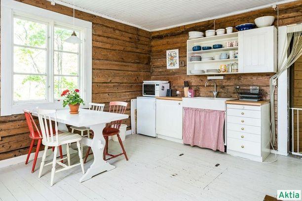 Puuseinät toimivat loistavasti kontrastina valkoiselle lautalattialle ja katolle. Eriväriset tuolit ja raitainen verho kaapin ovena piristävät keittiön ilmettä.