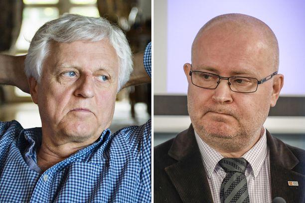 Peter Fryckman haluaa asiansa käsiteltäväksi Haagiin, silloinen ministeri Jari Lindström vastustaa. Kuvayhdistelmä.