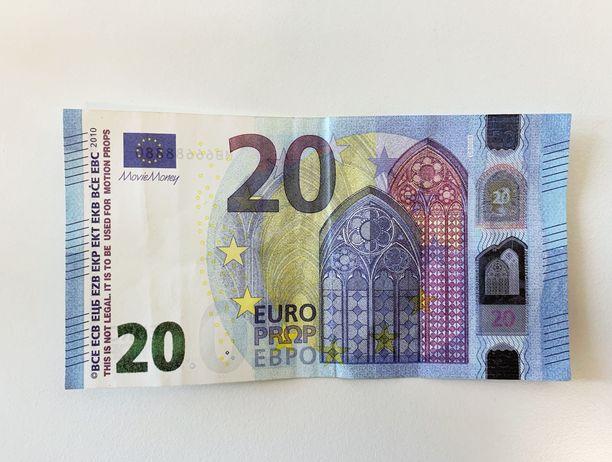Poliisin julkaisema kuva väärennetystä 20 euron setelistä.