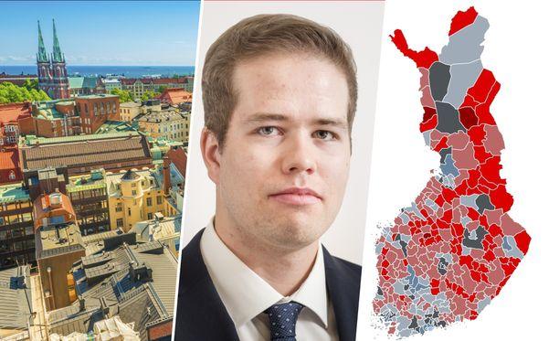 Hypon nuorempi ekonomisti Juho Keskinen kertoo, että riskiryhmiin luokitelluissa kunnissa asuntolainan saaminen voi olla vaikeaa. Helsinki on ainoa AA-luokituksen saanut suomalaiskunta.