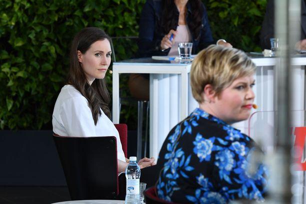 Sekä Sanna Marinin SDP:lle että Annika Saarikon keskustalle ennustetaan vaalitappiota. Kuva Iltalehden vaalitentistä 2. kesäkuuta.