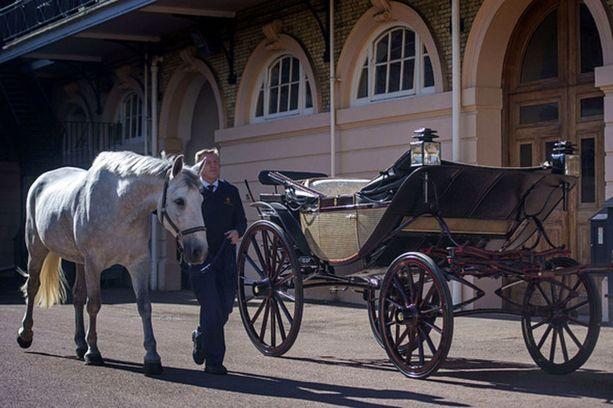 Tuore aviopari tervehtii Windsorin katujen varsiin kokoontunutta yleisöä kuuden hevosen vetämistä avokärryistä käsin. Ajelu kestää 25 minuuttia.