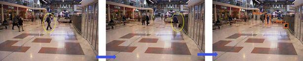 VTT:n julkistamasta kuvasarjasta selviää miten:<br> 1. Mies saapuu kauppakeskukseen reppu selässään. 2. Hän viipyy hetken alueella ja ja laittaa repun lattialle. 3. Mies jättää repun ja poistuu paikalta. Nyt kamera hälyttää vartijat ja alueen muut kamerat seuraavat miestä niin kauan kun hän on alueella.